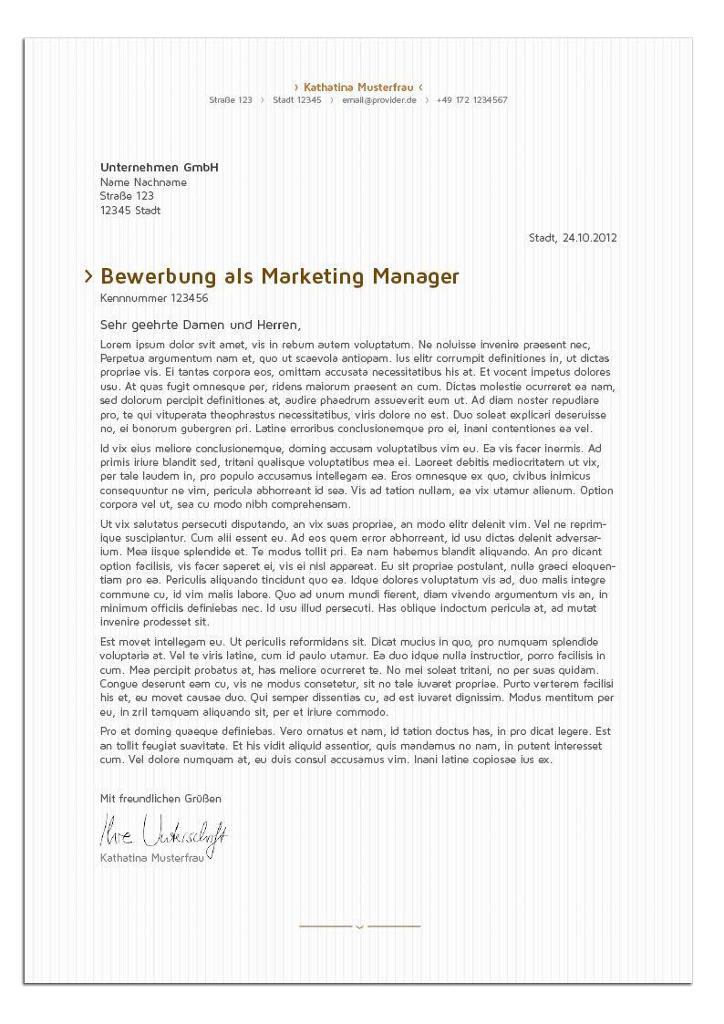 Bewerbungsdesign - Edle Managerin (Anschreiben)