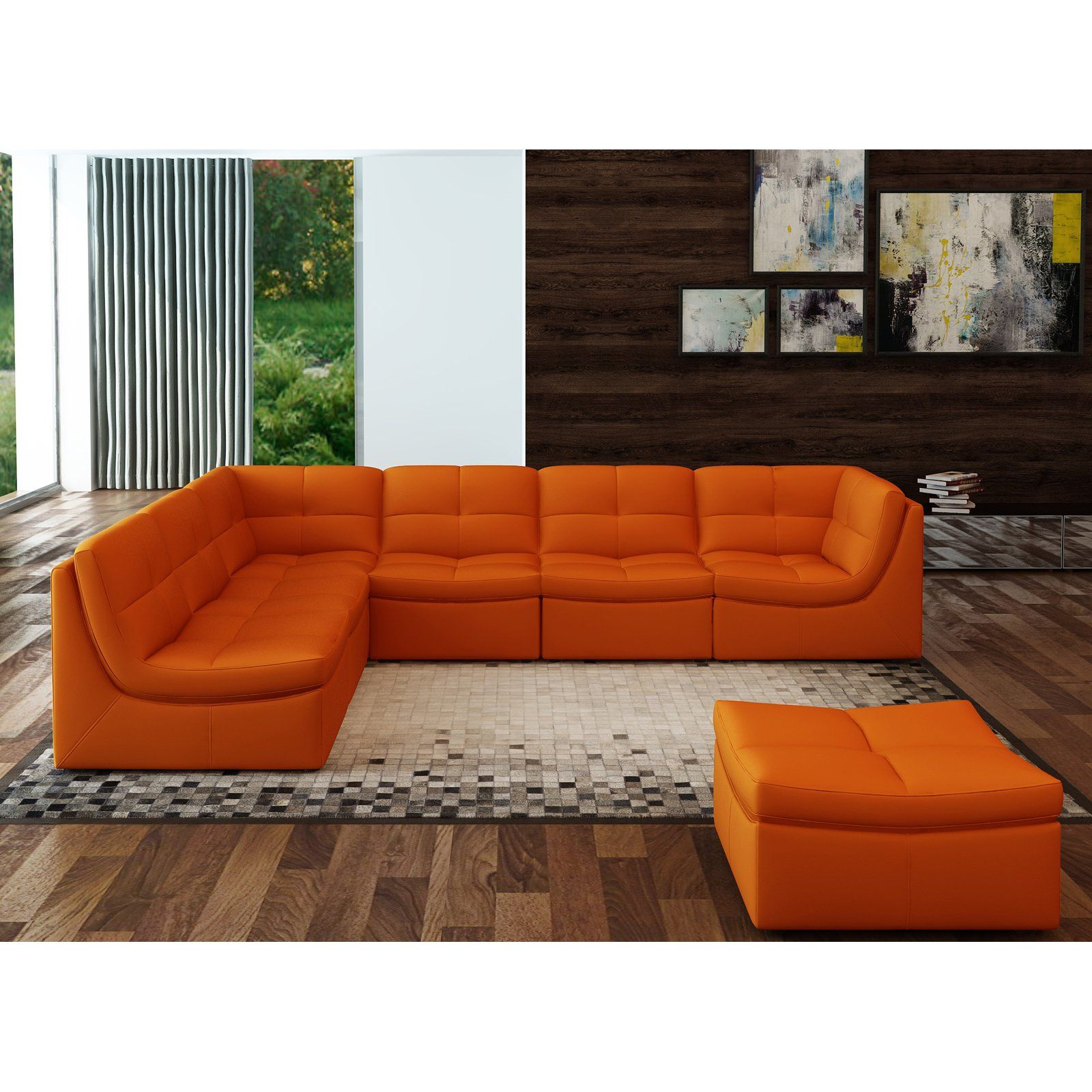 Best J M Furniture Lego 7 Piece Sectional Sofa Set Pumpkin In 400 x 300