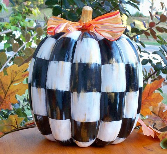 Hand Painted Black and White Checked Pumpkin by cindiknighton - halloween crafts ideas
