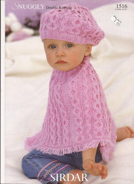 Sirdar Snuggly DK Knitting Pattern 1516 Poncho & Beret NewBorn ...