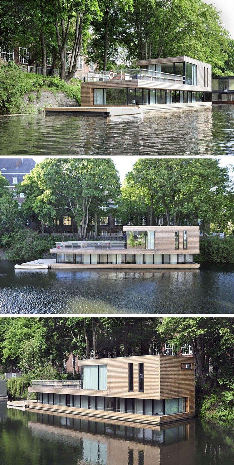 maison sur l 39 eau plusieurs niveaux bardage bois massif et grandes baies vitr es fachadas. Black Bedroom Furniture Sets. Home Design Ideas