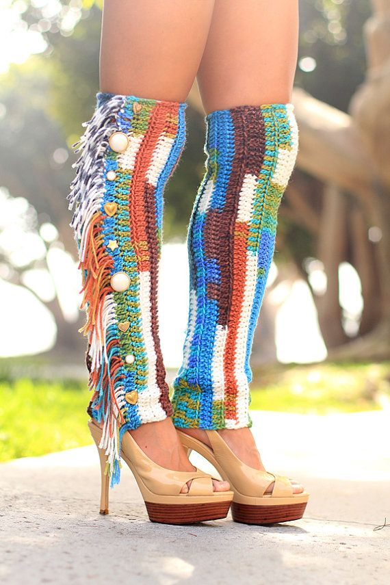 Leg Warmers with Fringe and Buttons - Crochet Fashion Leggings by ...
