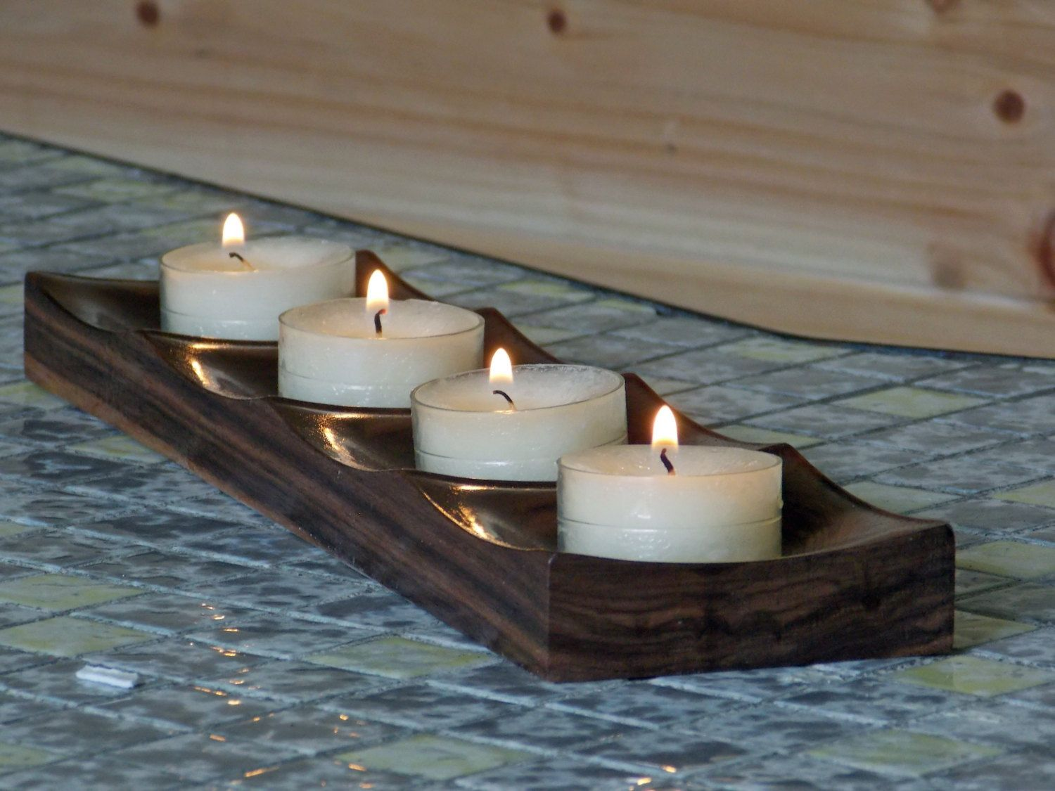 Wooden Tealight Candle Holder Rustic Wedding Decor Wooden Tea Light Candle Holder Wedding Candle Centerpiece Bathroom Candle Decor Bougeoirs