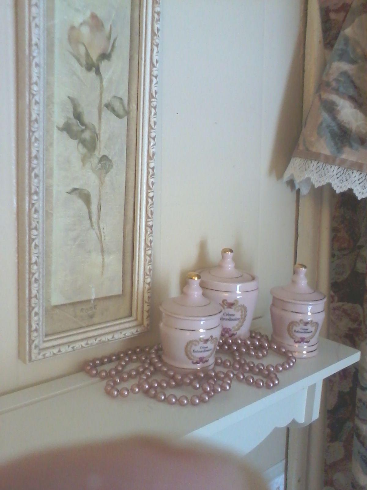vintage bottles and pink pearls