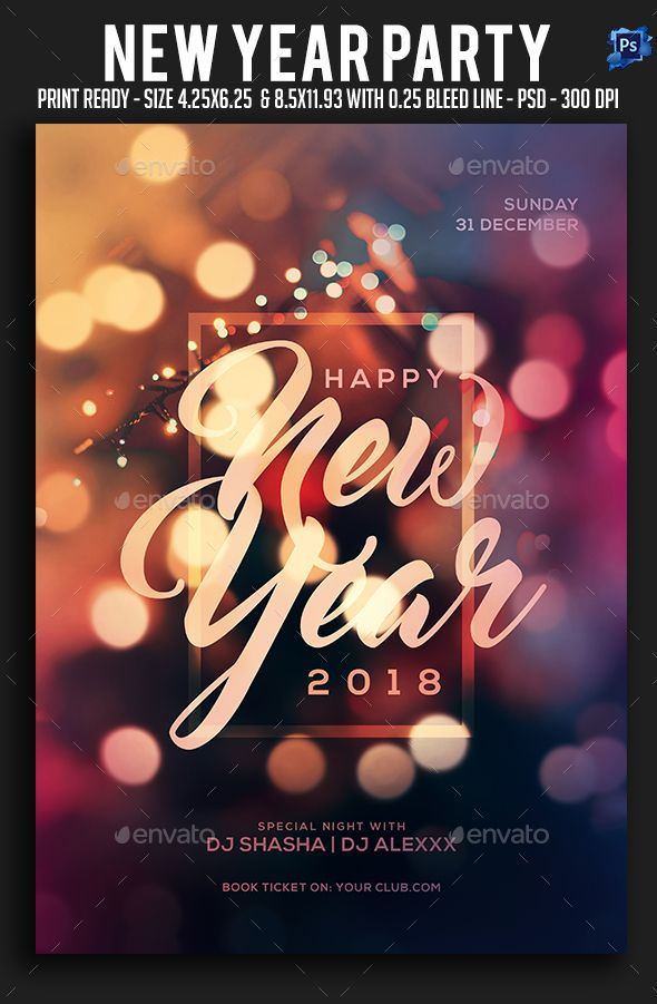 New Year Party Flyer Party flyer, Flyer template and Font logo - new year brochure template