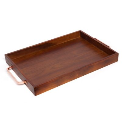 The Medici Carb Rectangular Acacia Tray with Rose Gold Handles is