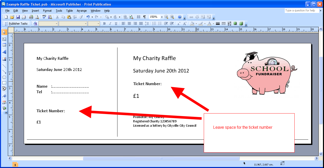 how to make raffle tickets in microsoft word
