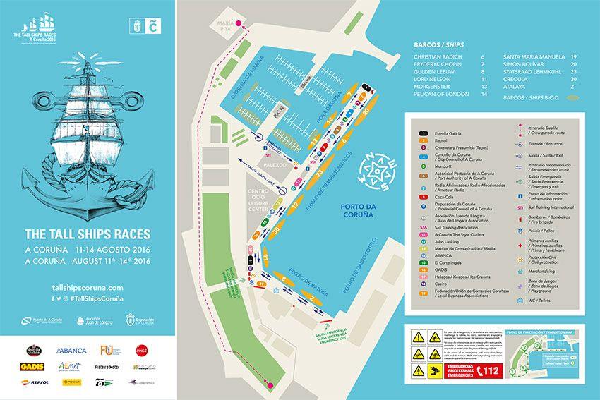 Programa De Actividades E Mapa Da Tall Ships Races Na Coruña Tall Ships Races A Coruña Ship Racing Tall Ships Racing