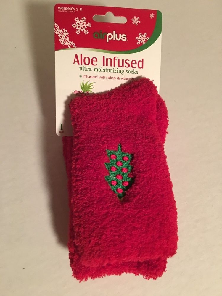 Red//White AIRPLUS Women/'s Aloe Infused Ultra Comfort Socks Size 5-11