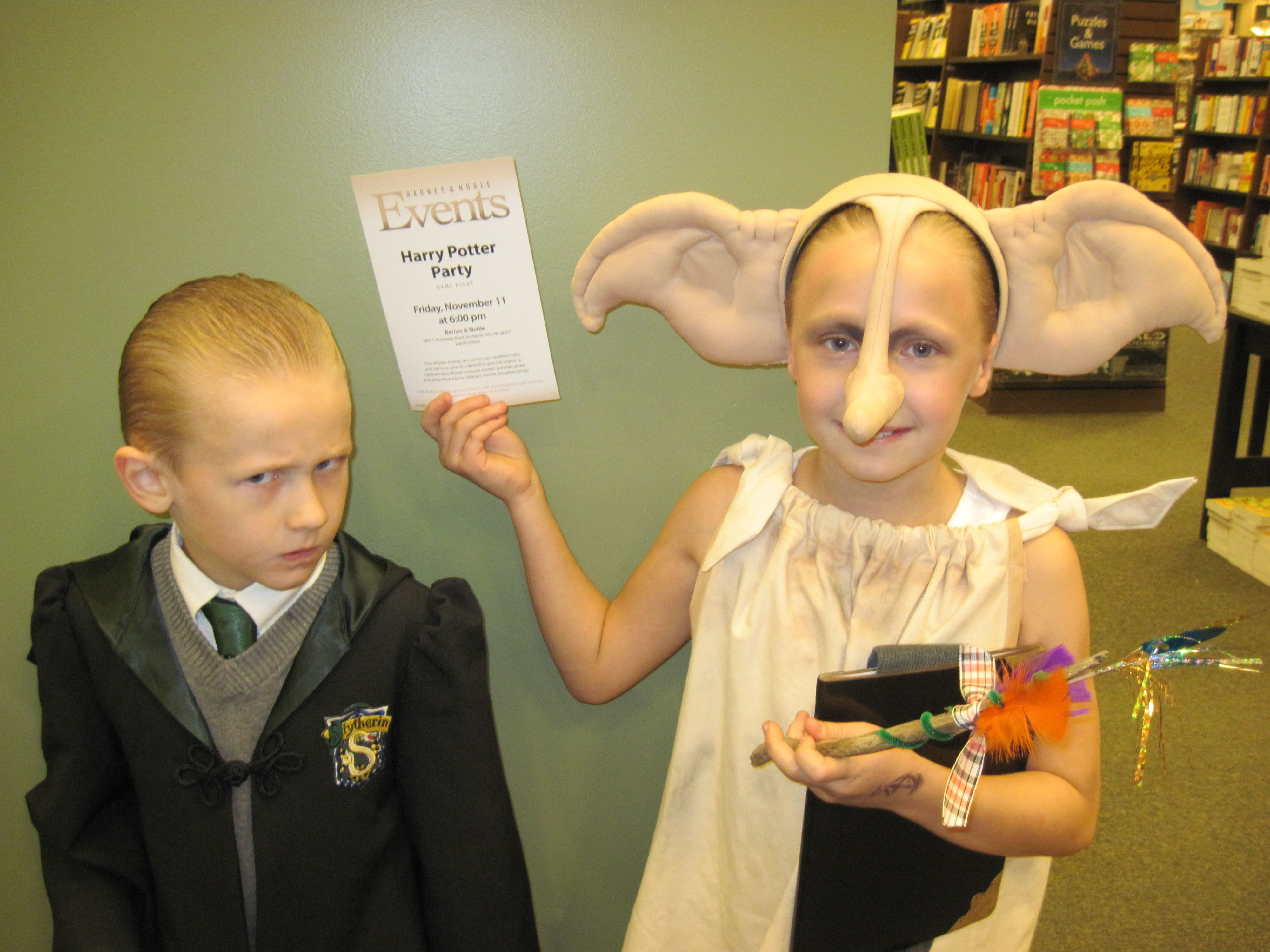 Draco Malfoy and Dobby - our handmade costumes were a big