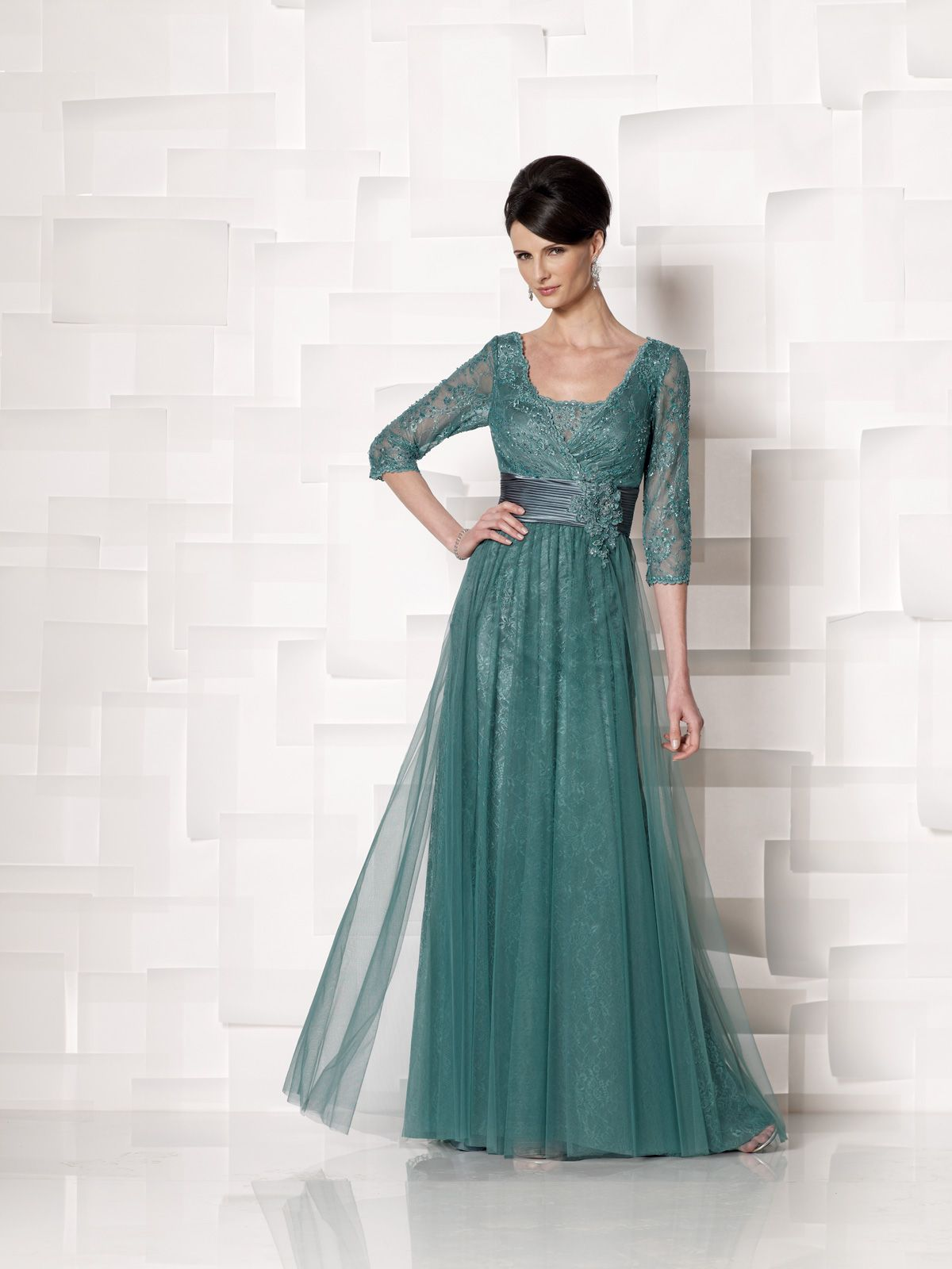 Illusion lace and satin aline dress with sheer lace threequarter