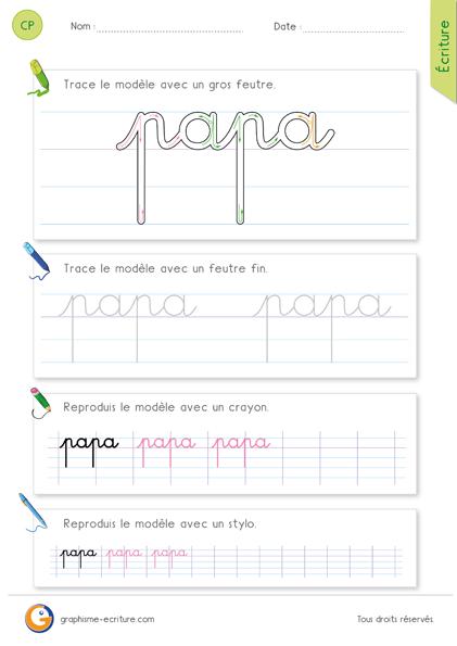 Souvent exercice-fiche- graphisme-écriture-cp-ce1-écrire-le-mot-papa  AG62