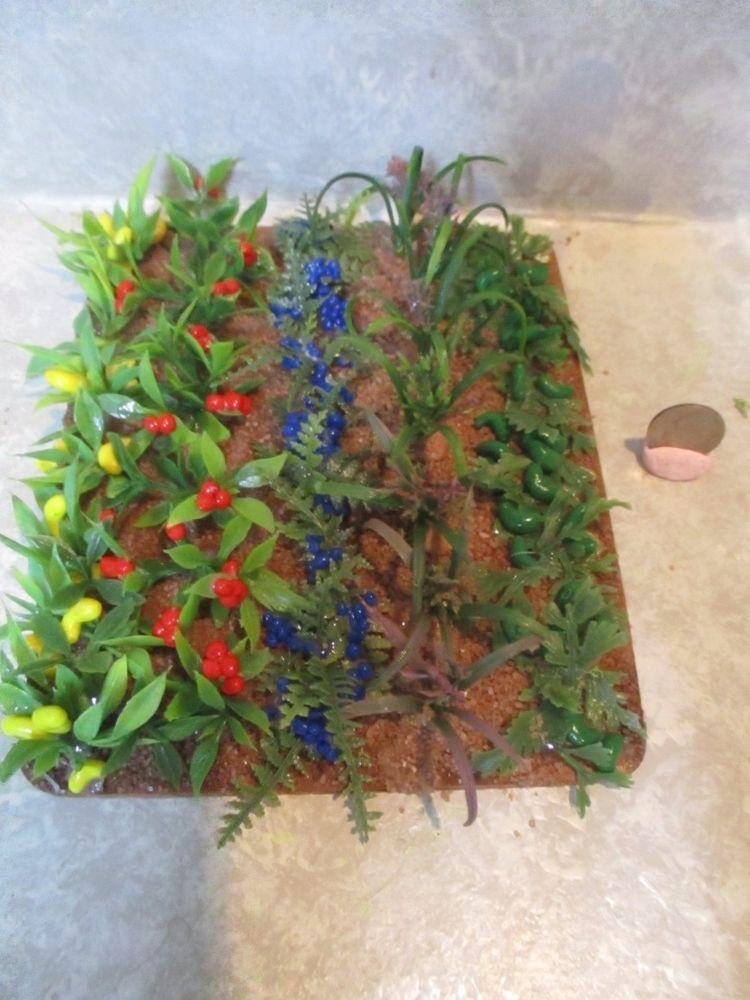 "Miniature doll//dollhouse 4 1//2/"" x 2 1//2/"" PURPLE Floral Bush//Butterflies"