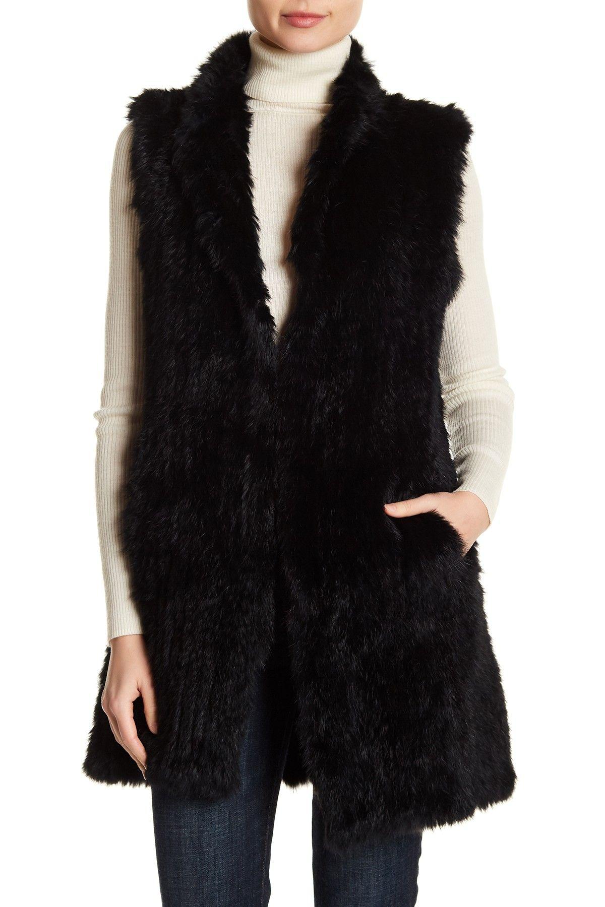 e999ed017 Long Genuine Dyed Rabbit Fur Vest Rabbit Fur Vest, Nordstrom Rack, Jackets,  Fur
