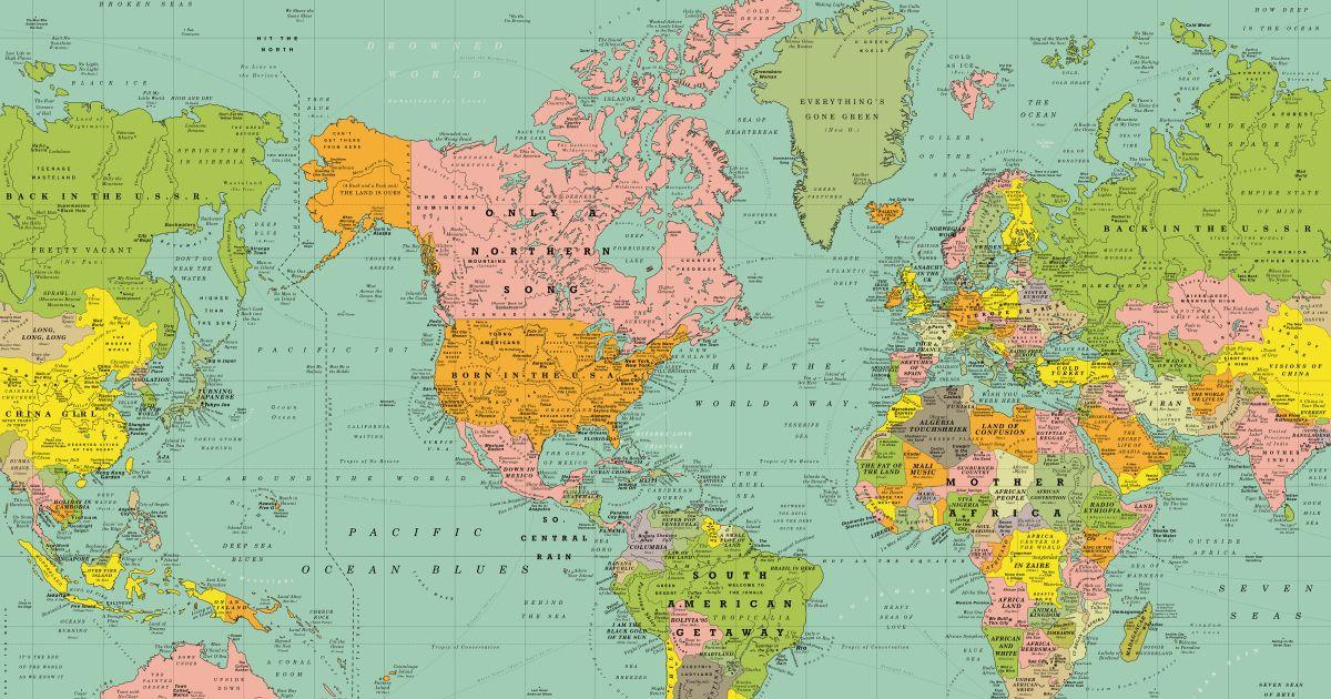 Diese Karte Beschreibt Die Ganze Welt In Songs World Map With