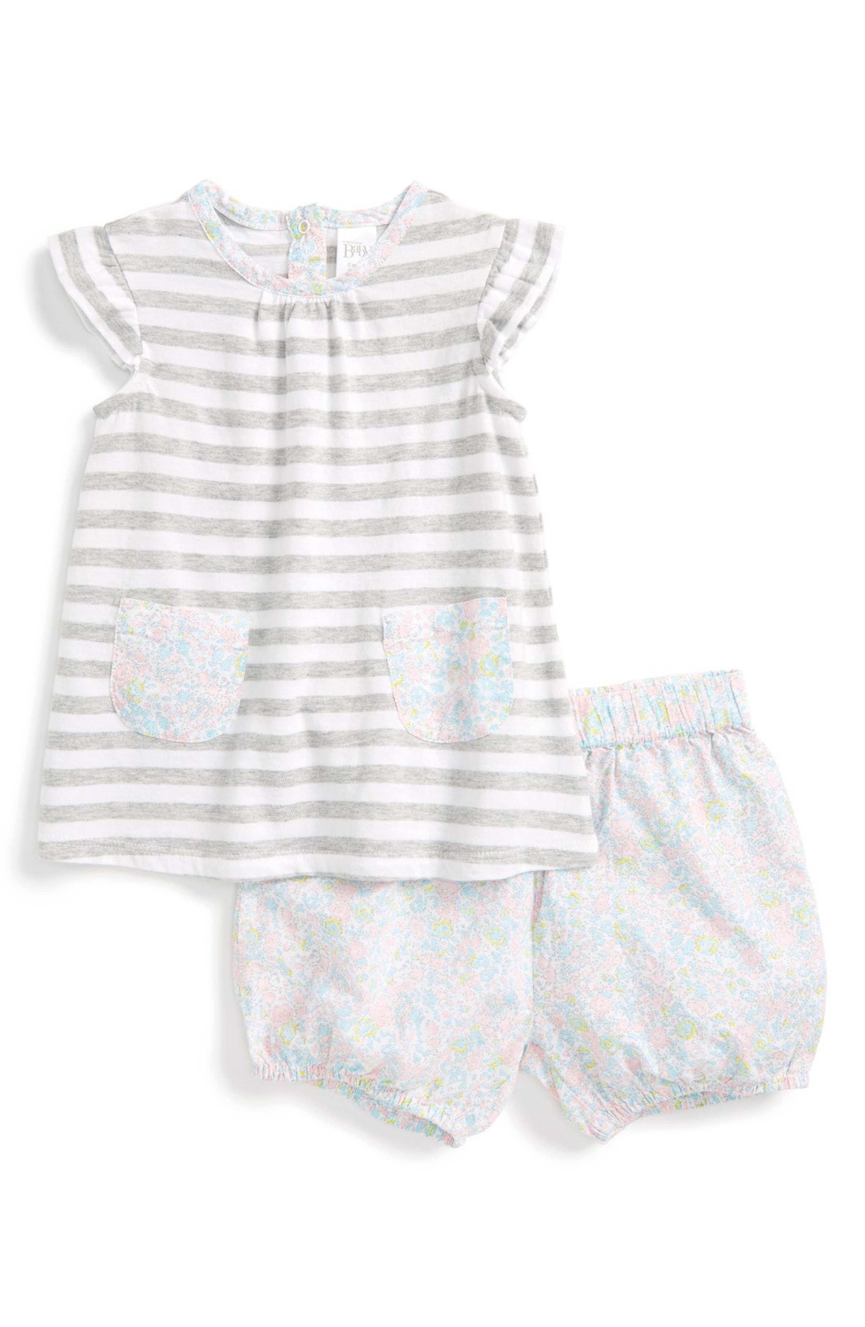 Main Image Nordstrom Baby Stripe Tunic & Shorts Set Baby Girls