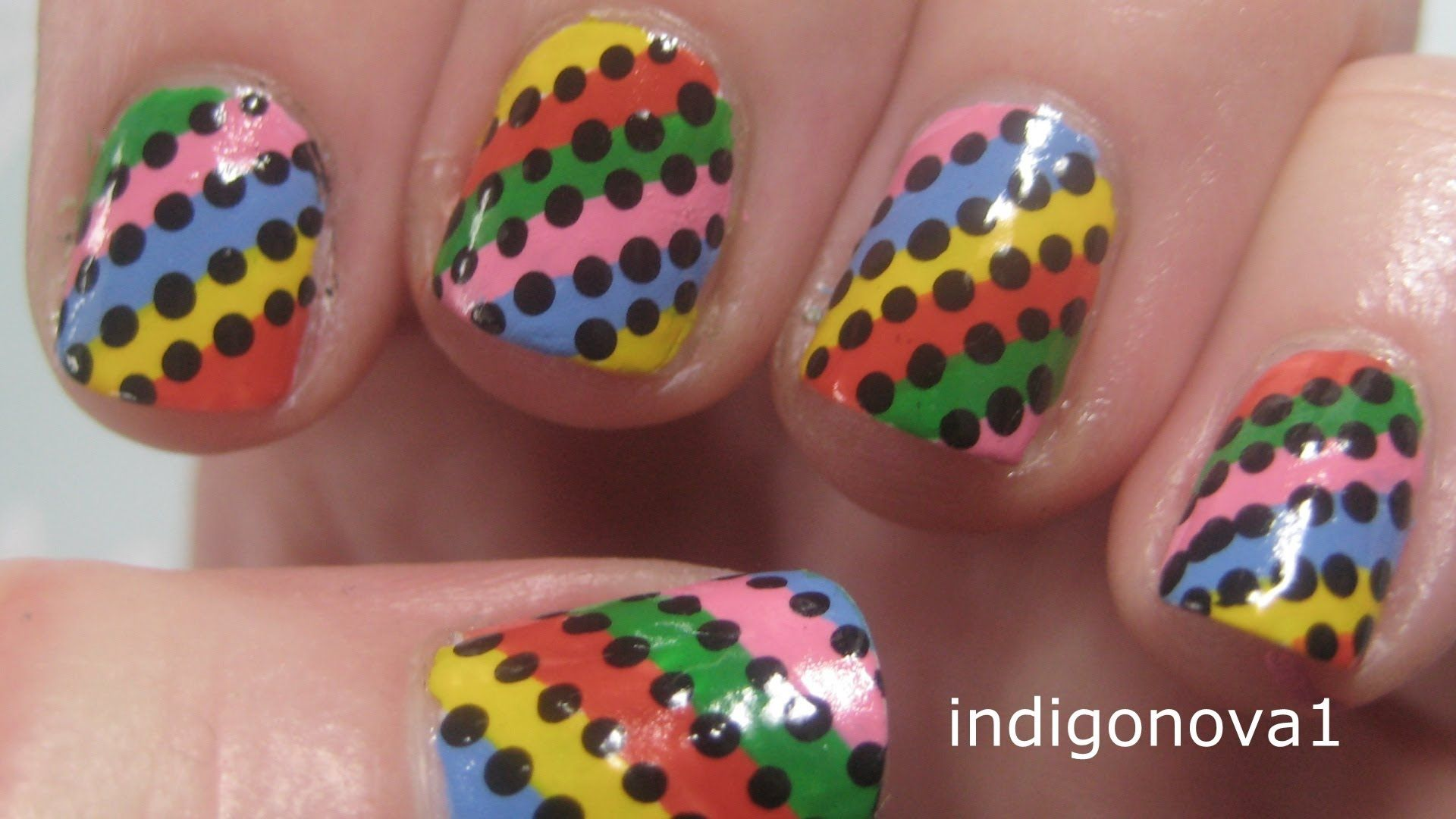 Easy Rainbow Stripes - Beginners Nail Art Tutorial on Short Nails ...