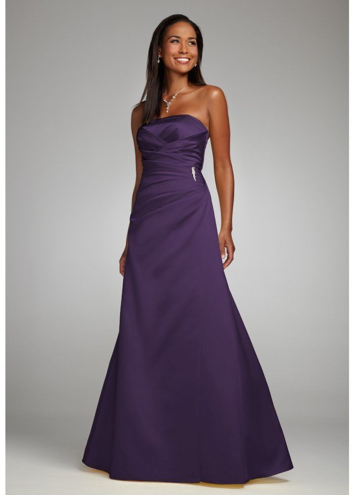 Amazon.com: David\'s Bridal Bridesmaid Dresses Satin Strapless Gown ...