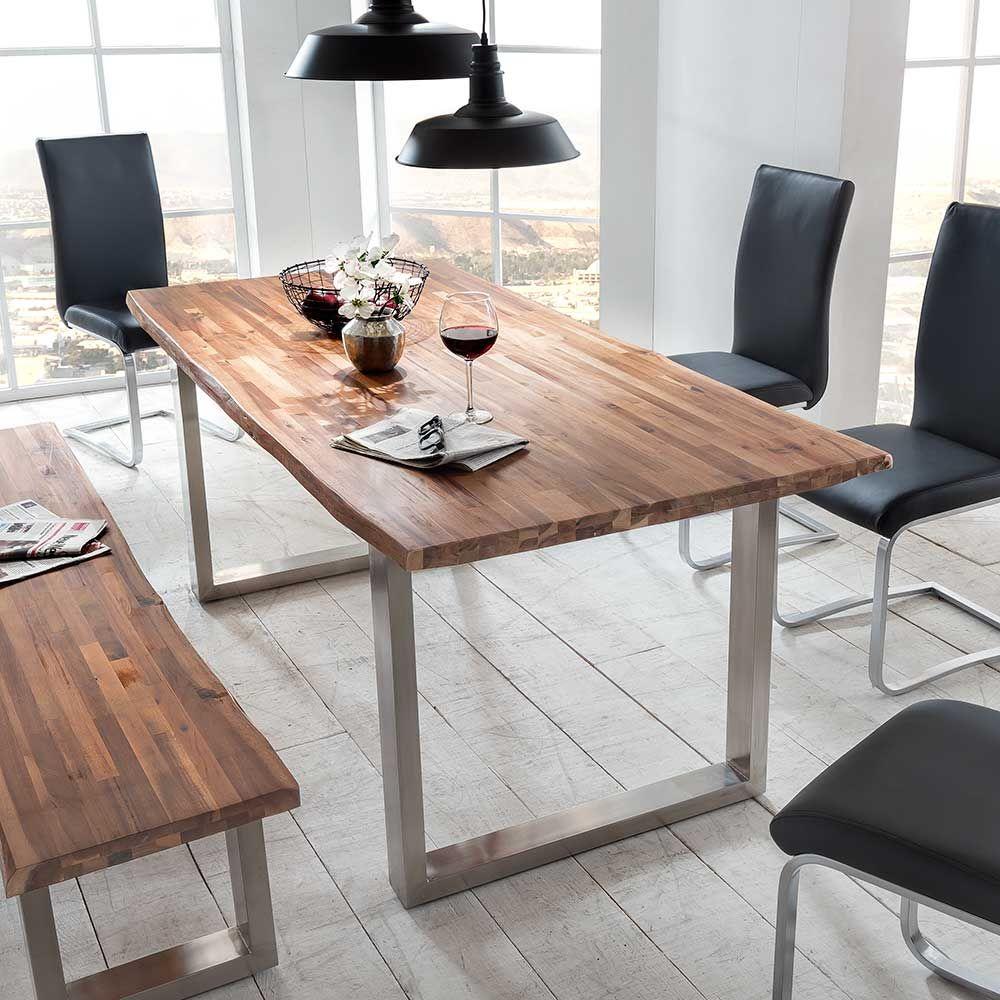 Baumkantentisch aus Akazie massiv Edelstahl Jetzt bestellen unter ...