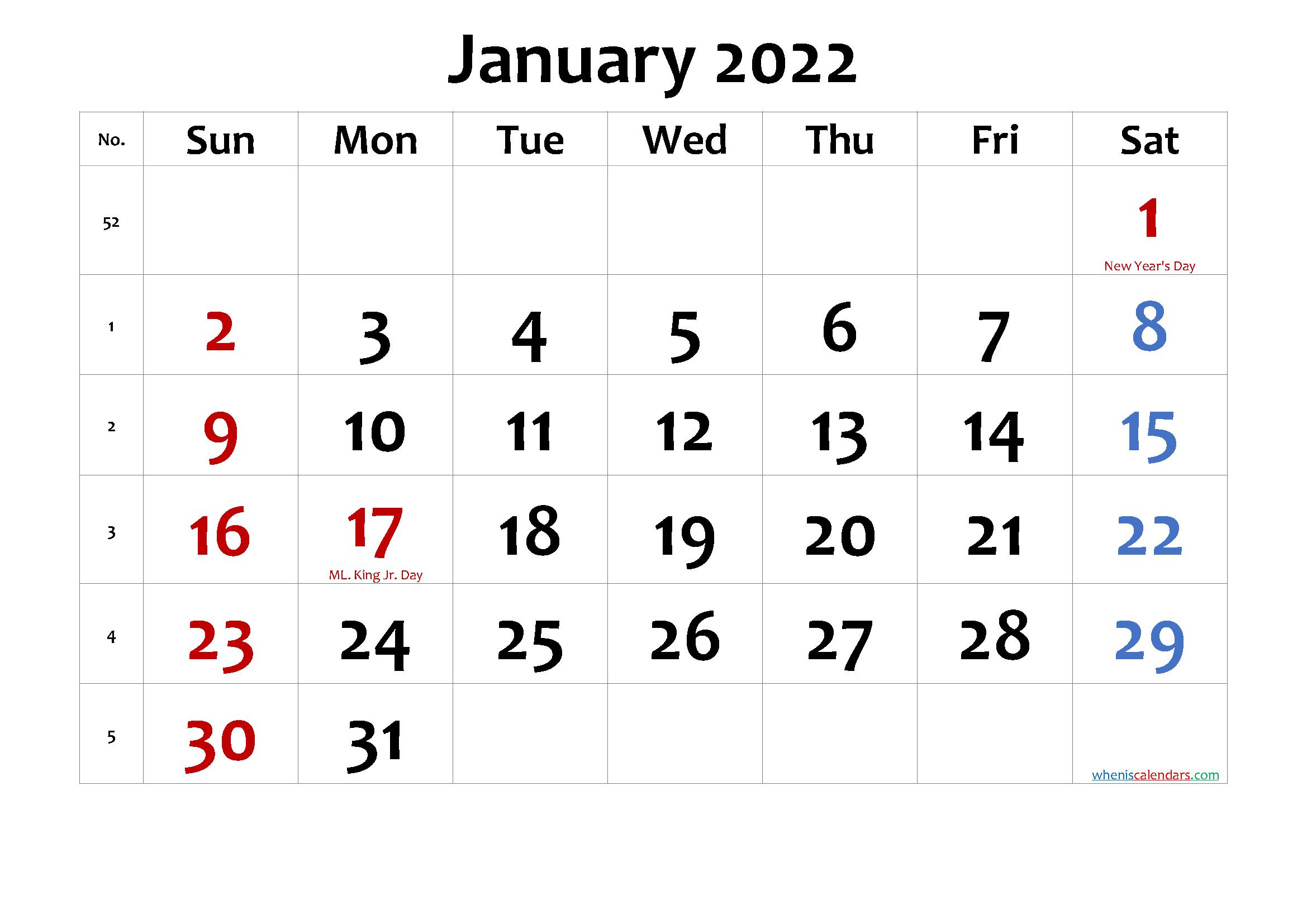 Free Printable January 2022 Calendar Pdf And Png Calendar Printables Free Printable Calendar Printables