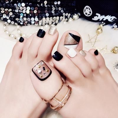 24 pcs simple wave  stripe style false toe nails  móng