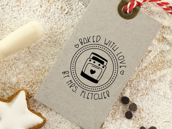9dadbcea5c89 Baked with Love Rubber Stamp, Baking Stamp, Vintage Oven, Holiday ...