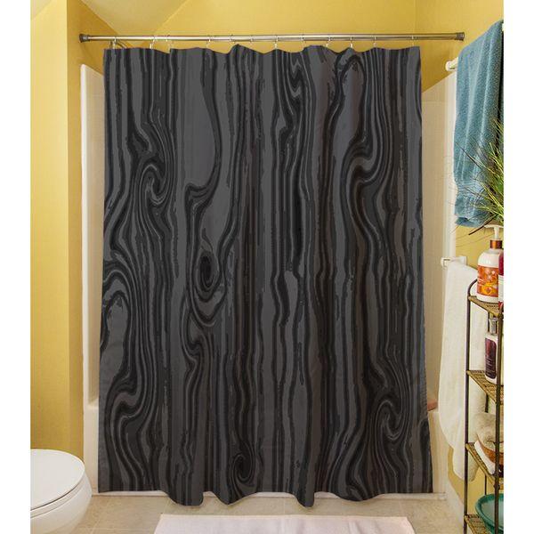 Thumbprintz Wood Grain Large Scale Black Shower Curtain ...