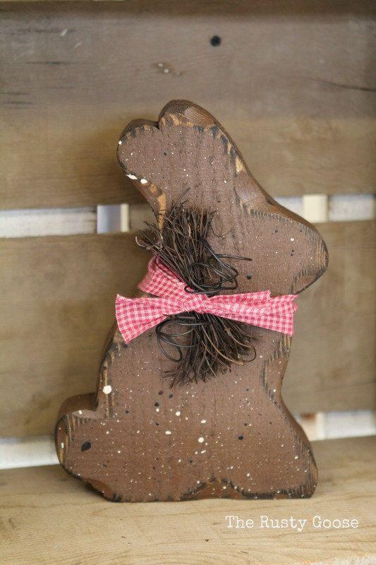 Easter Decor Chocolate Bunny Primitive Rustic
