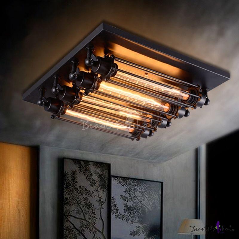 4 Light Black Industrial Loft Punk Steam Wall Washer Ceiling Lights Steampunk Lighting Industrial Ceiling Lights