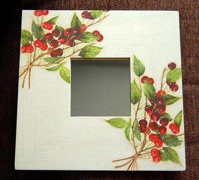 Espejo malma decorado con servilleta espejos for Espejos con marco de madera decorados