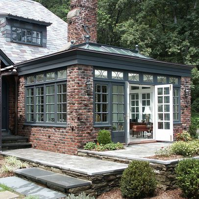 Conservatory Love This With The Fireplace And The Trim Colour House Exterior Traditional Exterior Garden Room Extensions
