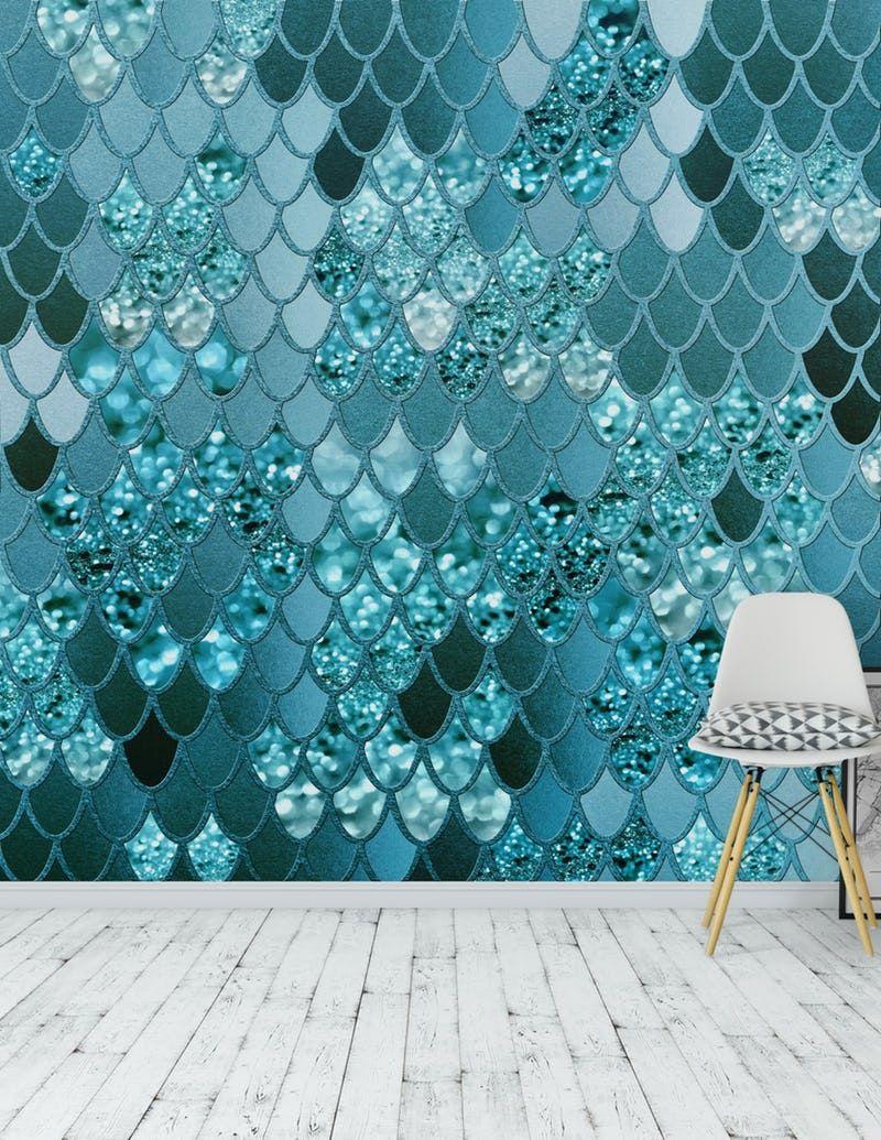 Mermaid Glitter Scales 4 Wall Mural / Wallpaper Abstract #mermaidbedroom