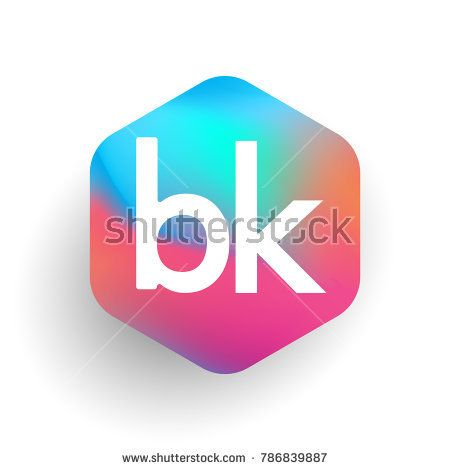 Letter Bk Logo In Hexagon Shape And Colorful Background