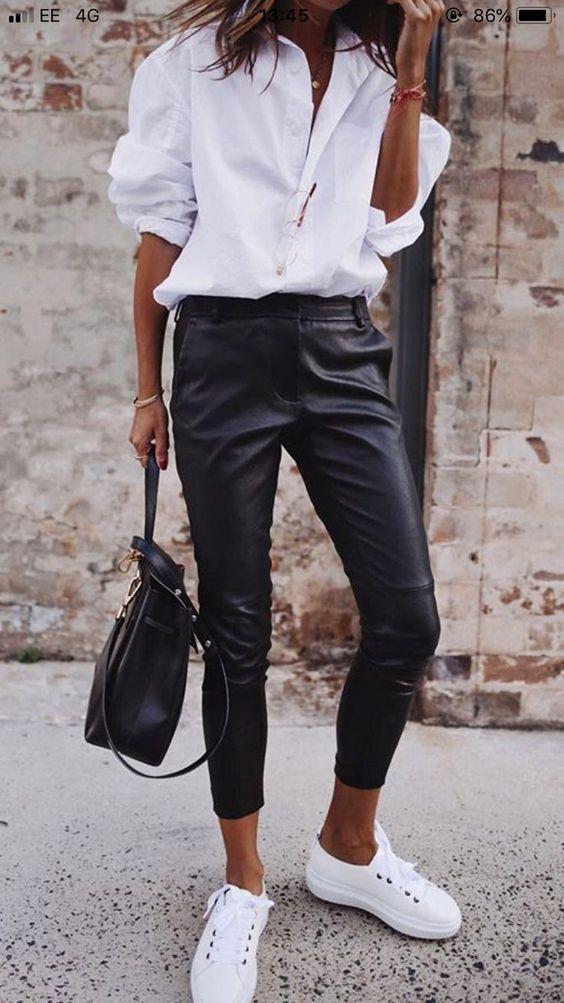 Pantalones pitillo de imitación  – Moda