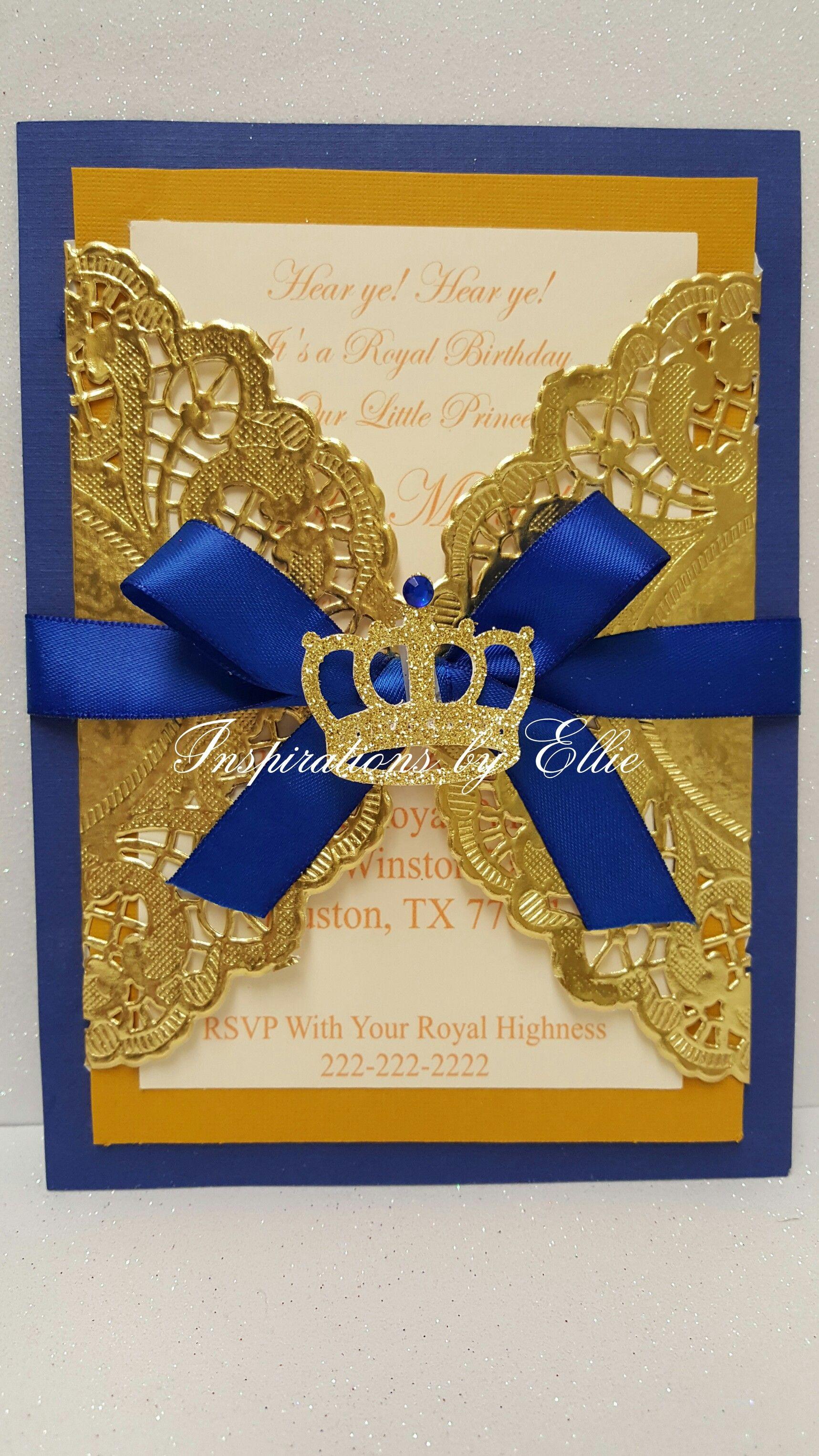 Royal prince birthday invitations set of