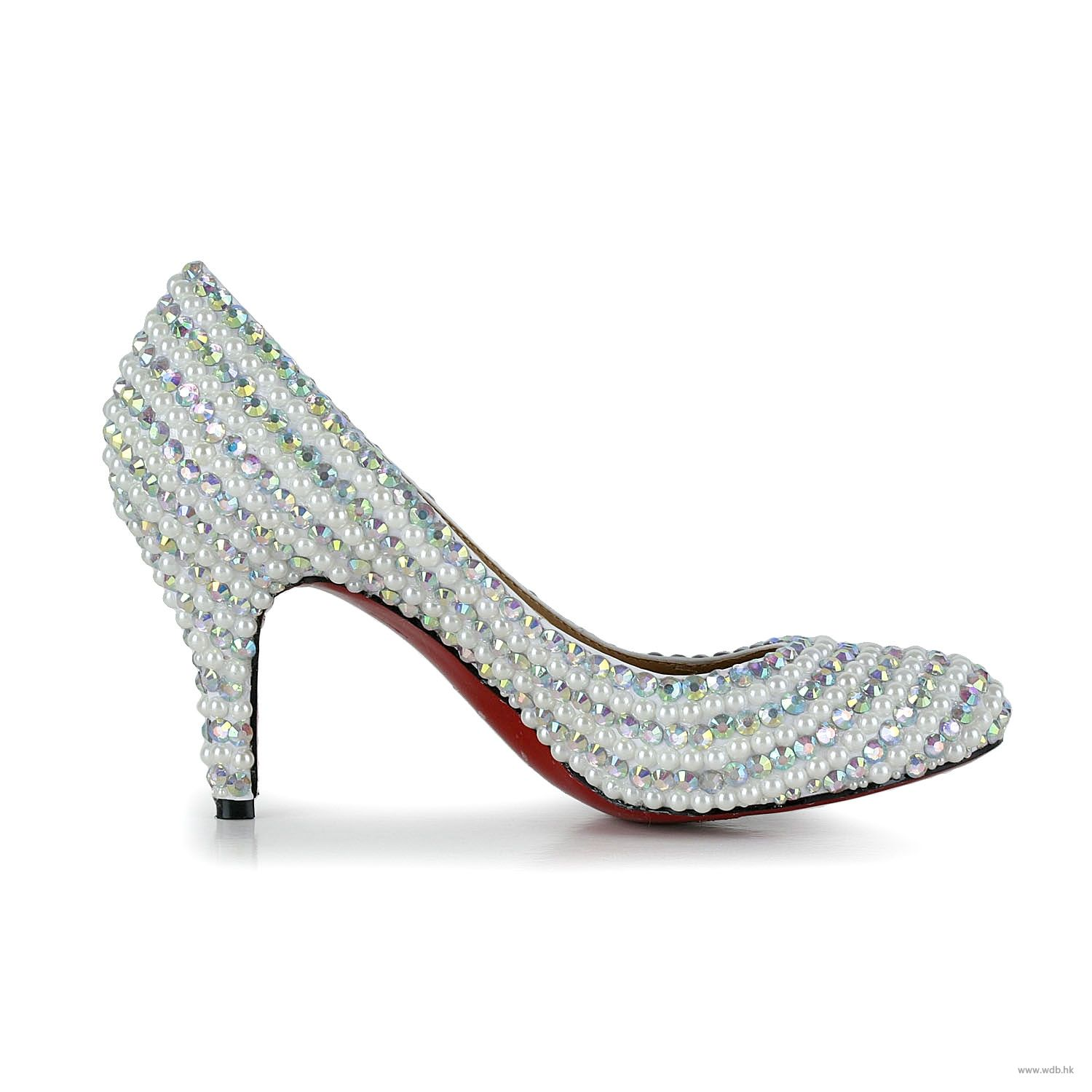 fall wedding 3 inch White Beading Leather shoes $66