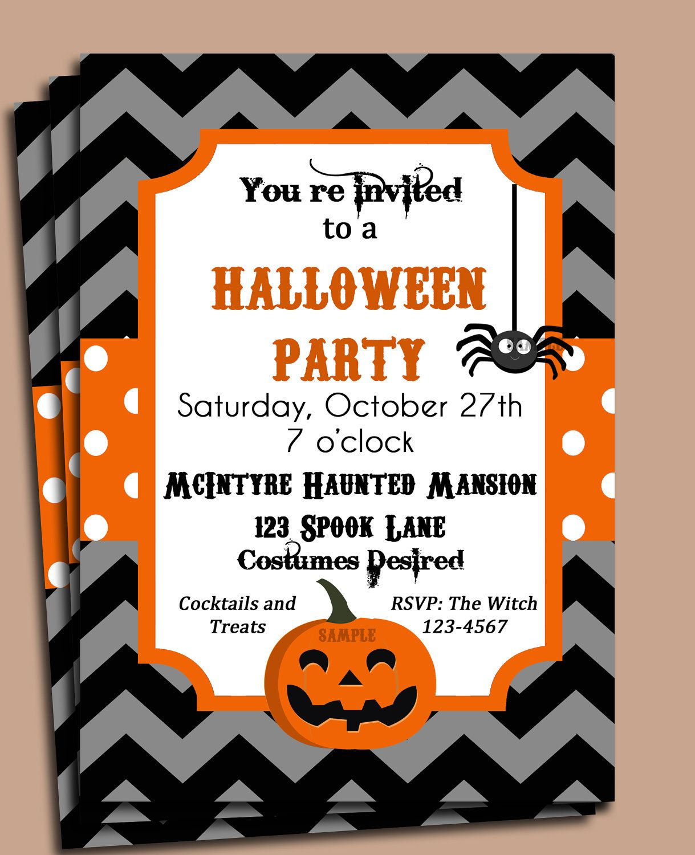SImple Halloween Party Invitation Printable - Chevron Dot ...