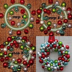 ornament wreath - for easier than hot glue, string them on fishing ...