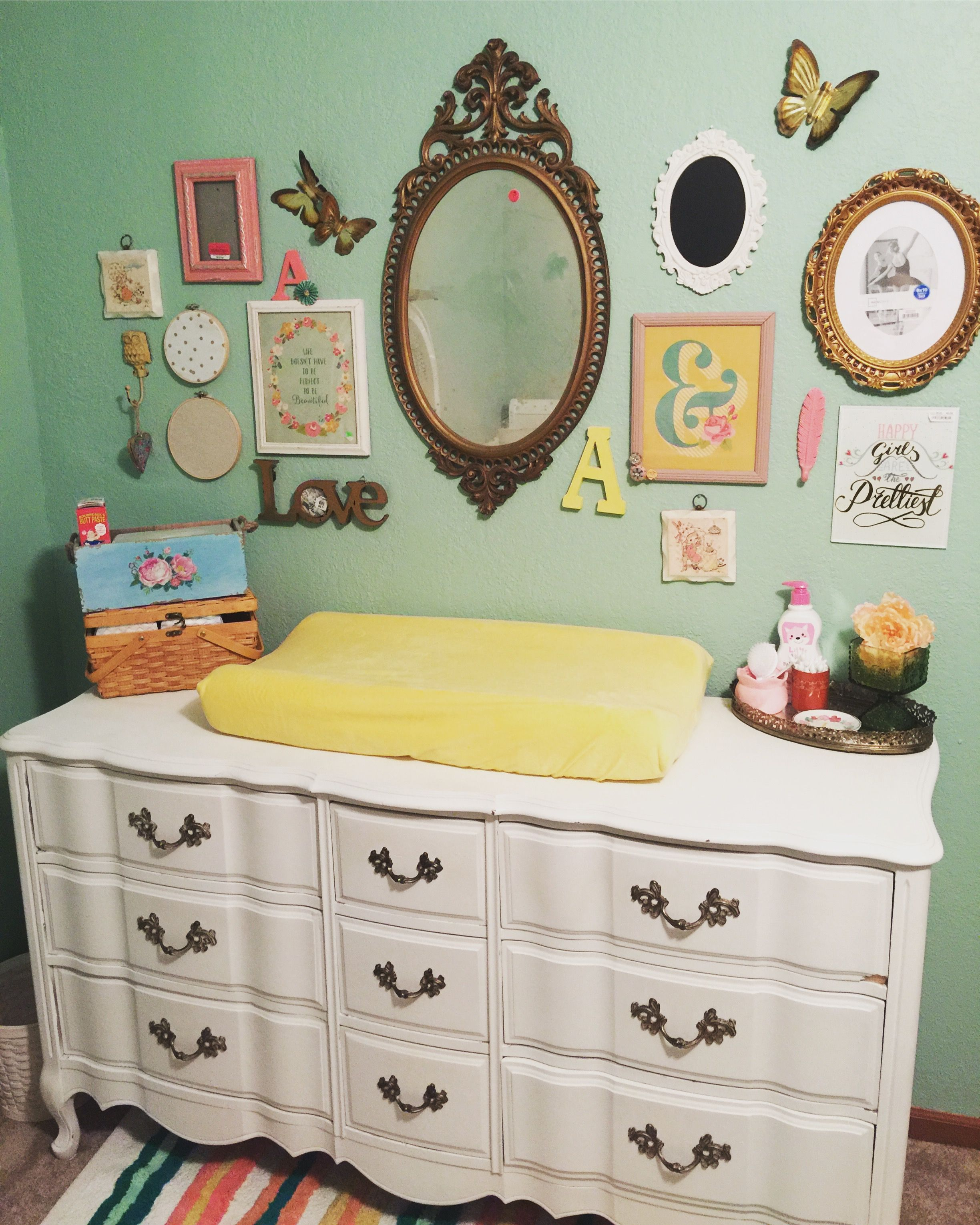 Pretty wall! Vintage inspired nursery, thrifted decor, girl nursery ...