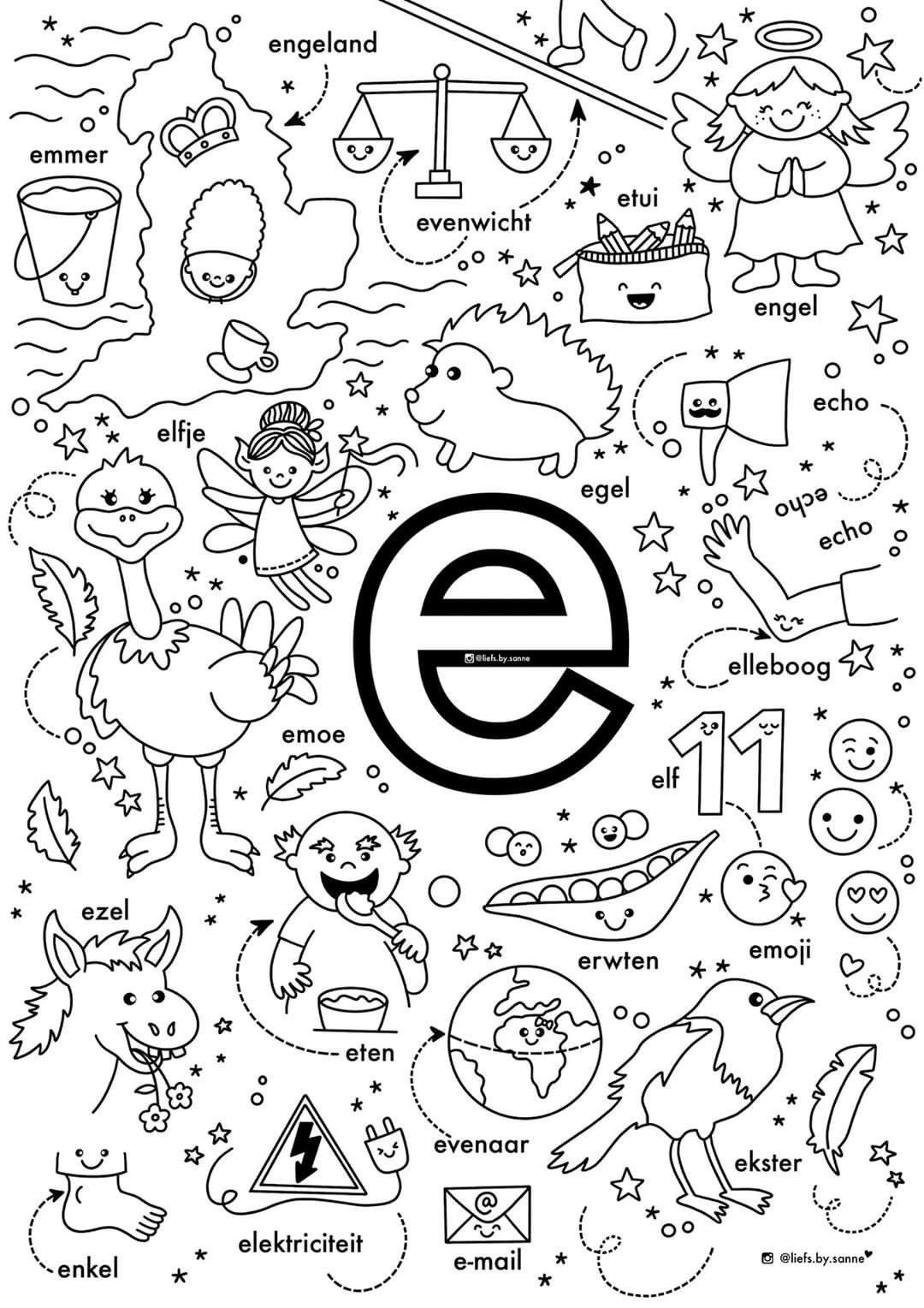 E Woorden Kleurplaat In 2020 Letterherkenning Spelletjes Alfabet Boek Letterherkenning