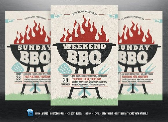 Weekend\/Sunday\/Holiday BBQ Flyer Flyers - bbq flyer
