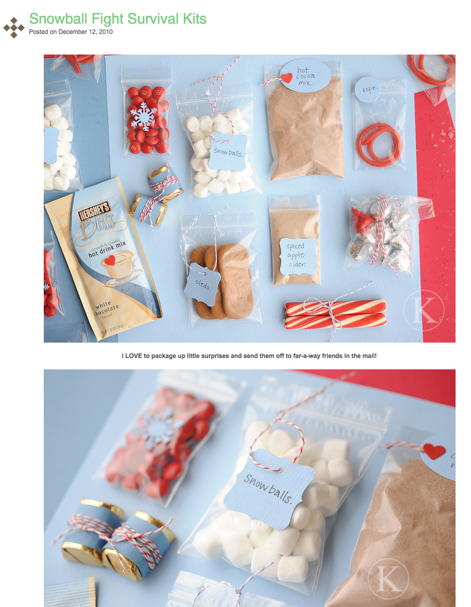 snowball fight survival kit (for the mail)