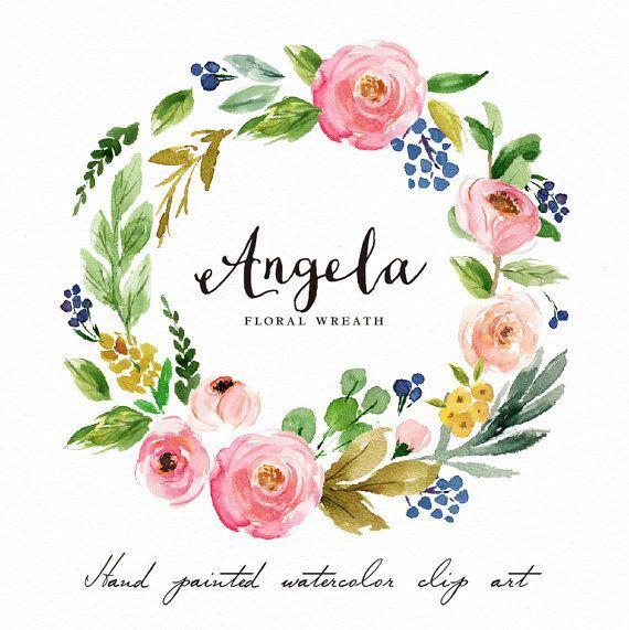 Photo of Clipart floreale della corona dell'acquerello Angela / piccolo insieme / dipinto a mano / progettazione di nozze