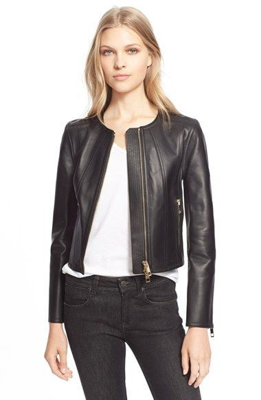 Burberry London Burberry London 'Haylands' Collarless Lambskin Leather Zip Front Jacket available at #Nordstrom