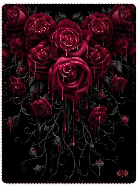 Blood rose fleece blanket by spiral usa black in 2019 - Black and red rose wallpaper ...