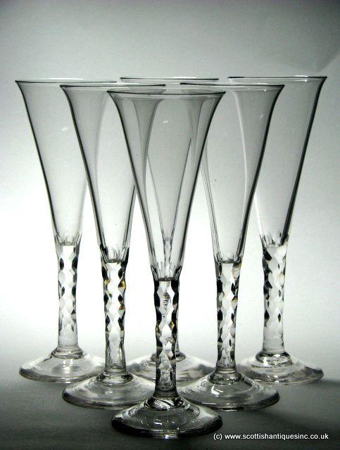 Superb Set of Six Facet Cut Champagne Glasses c1780