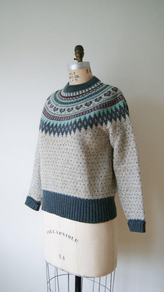 Vintage Sweater. Fair Isle Sweater. Nordic Sweater. Heart Print ...
