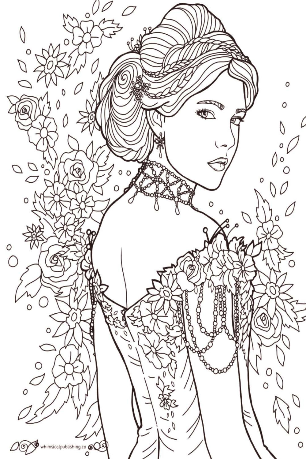 Lovely Lady Free Colouring Page