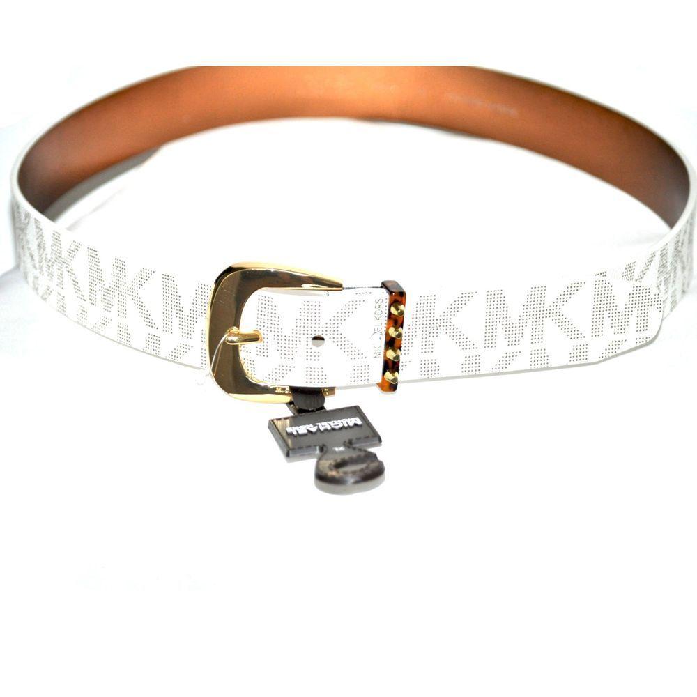 2453566794ff NWT MICHAEL KORS Women Belt White MK Logo Belt Signature w Gold Buckle size  XL