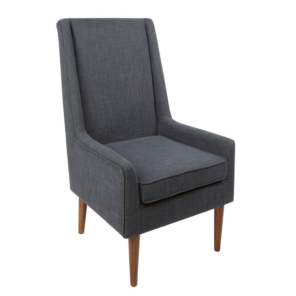 Nelson High Back Mid Century Modern Accent Chair Gray Silverwood